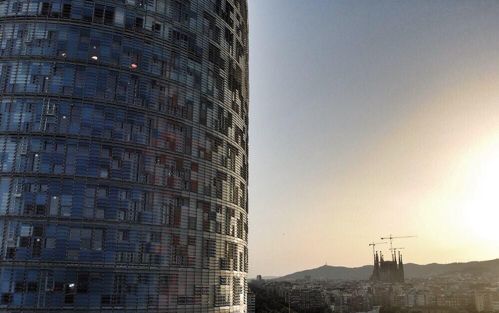 Torre Agbar and La Sagrada Familia at dusk
