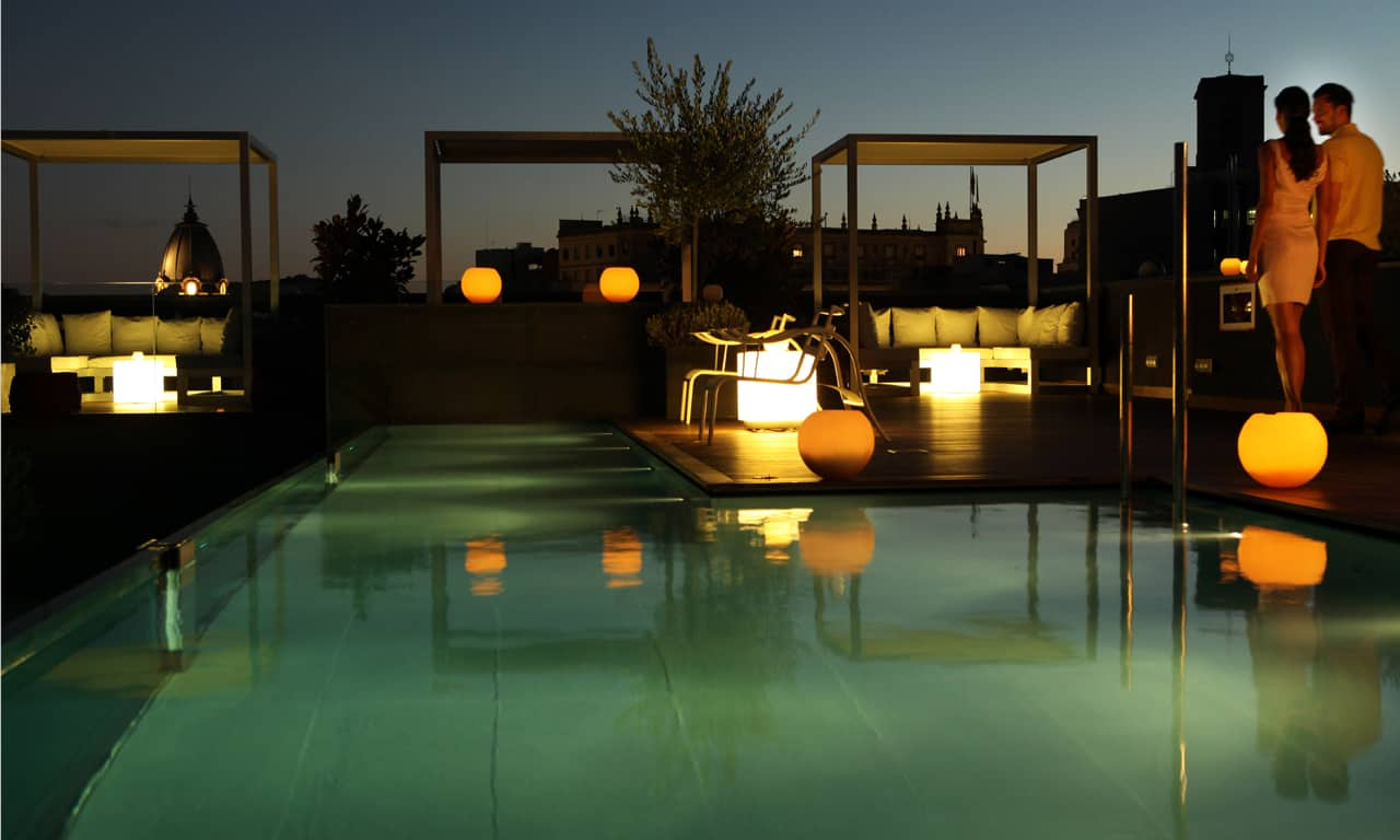 Ohla Hotel Roof Terrace and Pool at Night