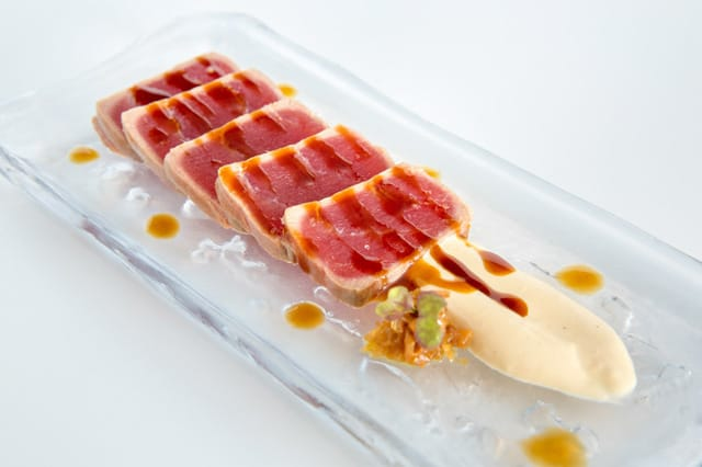 Tataki of tuna, spring onion, ginger and soy