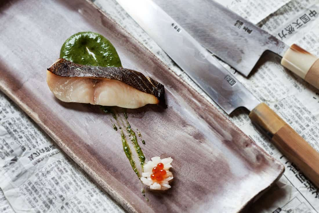 El Cercle Restaurant: Marinated black cod with spinach miso