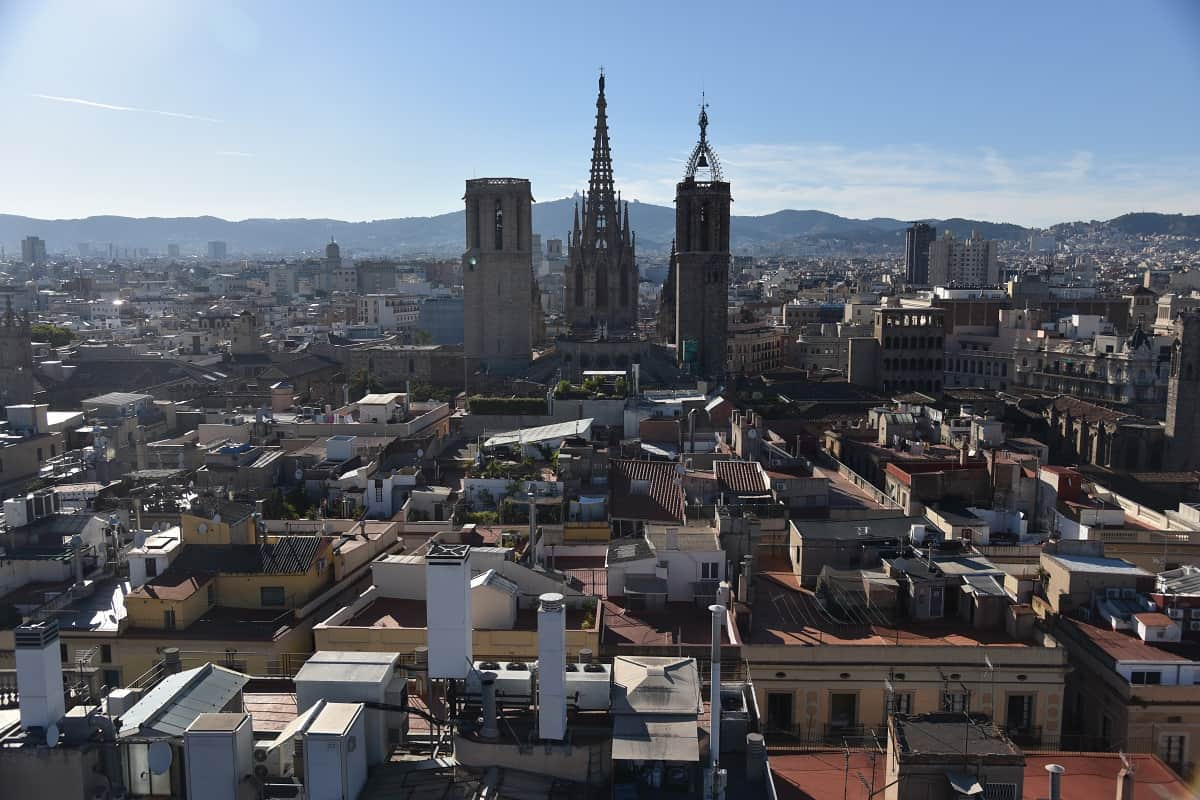 View of the Gothic Quarter and Barcelona Cathedral from the tower of the Church of Sants Just i Pastor