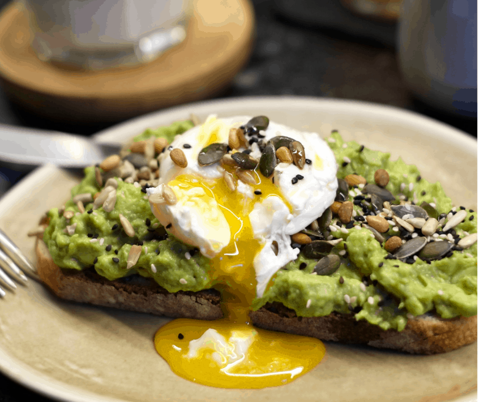 Avocado Toast: Sourdough with smashed avocado and mixed seeds