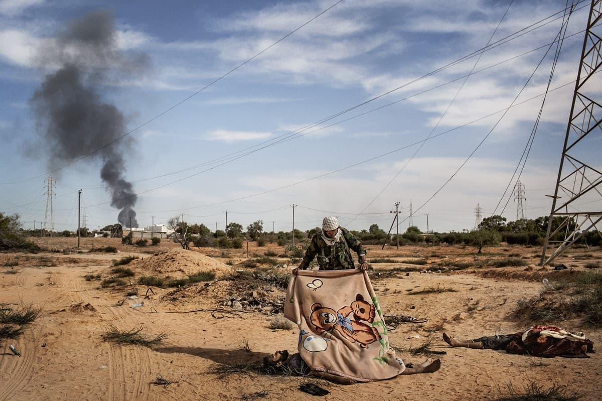Guillem Valle:Gaddafi follower killed by NATO bombs.Sirte, Libya 2011.