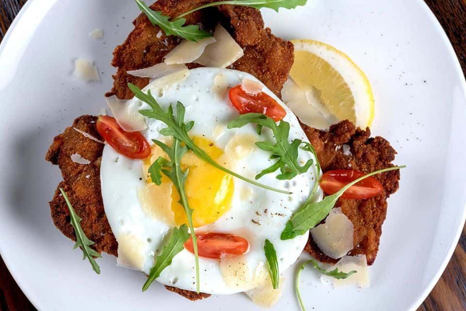 Beef Milanesa with egg
